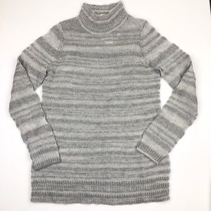 Moth Wool Blend Mock Neck Striped Pullover Sweater